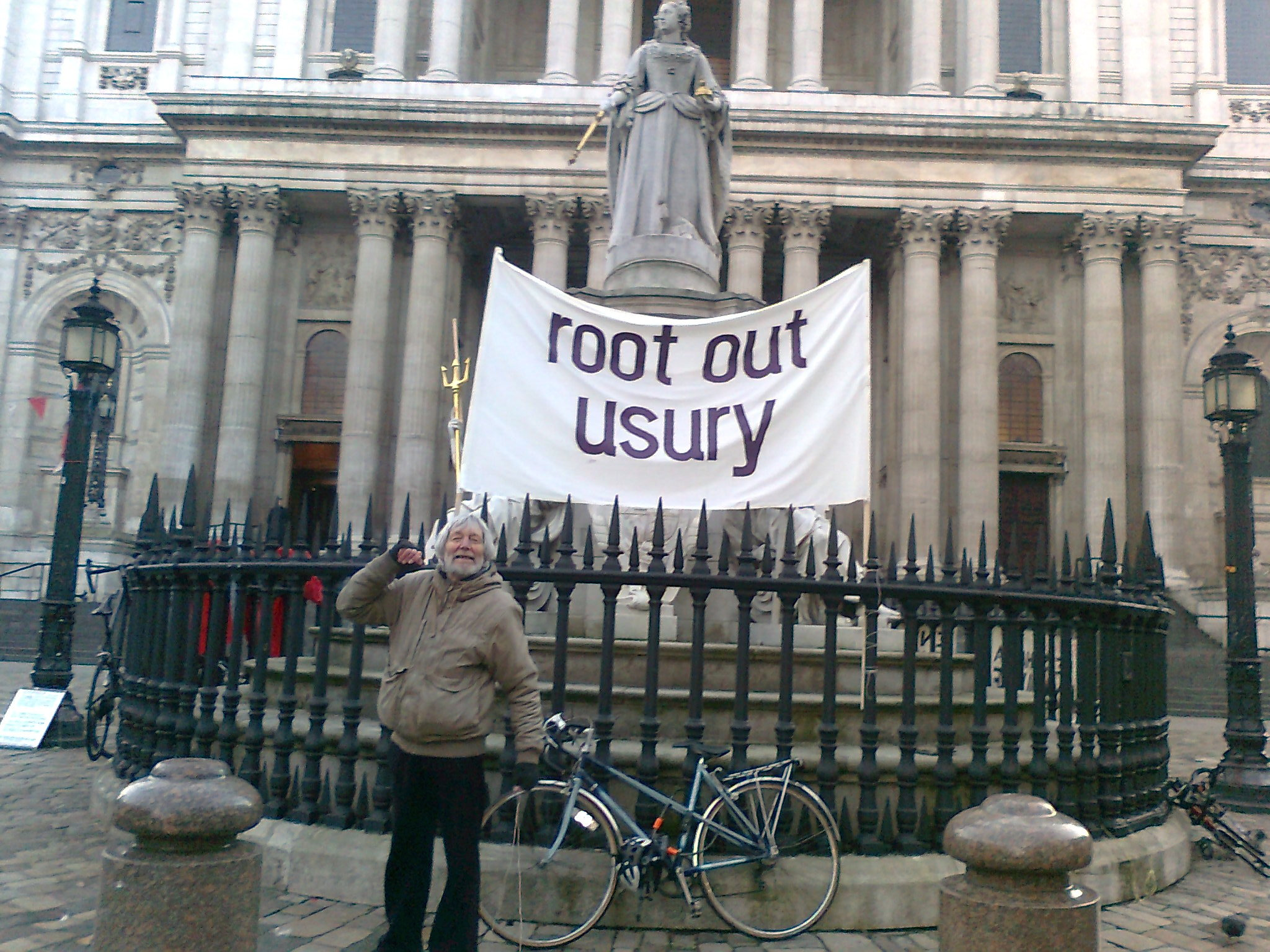 One Man Protest Oct 2011:  Root Out Usury!